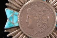 Silver dollar Zia Navajo bolo