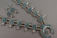 Squash Blossom Necklace with Earrings by Lance & Cordelia Waatsa (view 1)