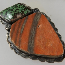 Shard + turquoise pendant for leather, ?