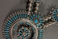 Squash Blossom Necklace with Earrings by Lance & Cordelia Waatsa (view 2)