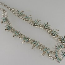 Squash Blossom Necklace with Earrings by Unknown Zuñi