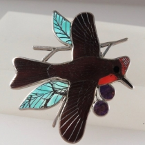 Vermillion Flycatcher  pin/pendant by Harlan Coonsis
